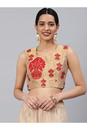 Aarrah Women Gold-Toned & Red Jacquard Embroidered Padded Ready Made Saree Blouse
