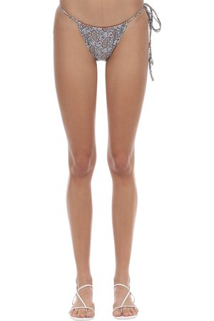 PALM SWIM Viper Gathered Printed Bikini Bottoms
