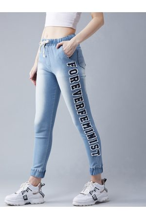DOLCE CRUDO Women Blue Regular Fit Solid Joggers