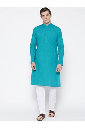 SG LEMAN Men Turquoise Blue & White Self-Striped Kurta with Pyjamas