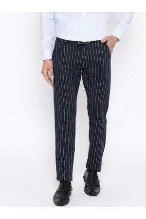 HANCOCK Men Navy Blue & White Slim Fit Striped Formal Trousers