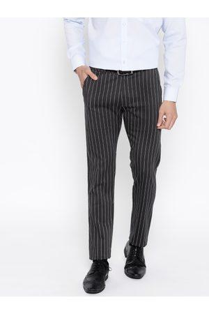 HANCOCK Men Charcoal Grey & White Slim Fit Striped Formal Trousers