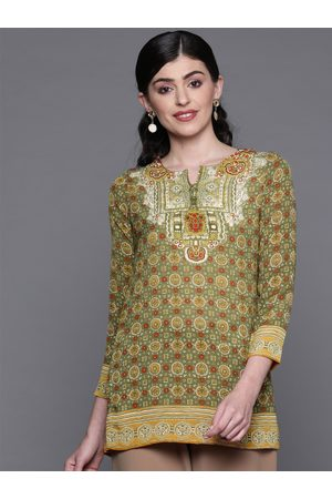 Biba Women Green & Beige Printed Straight Kurti