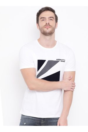 Antony Morato Men White Printed Round Neck T-shirt