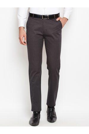HANCOCK Men Grey Slim Fit Self Design Formal Trousers