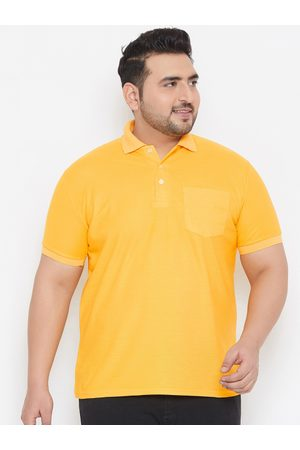 Bigbanana Plus Size Men Yellow Solid Polo Collar Bio Finish T-shirt