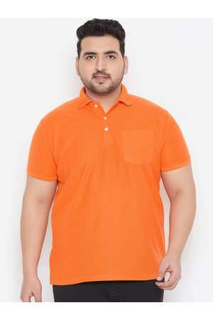 Bigbanana Plus Size Men Orange Solid Polo Collar Bio Finish T-shirt