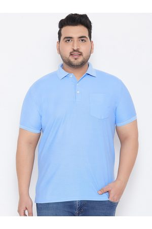 Bigbanana Plus Size Men Blue Solid Bio Finish Polo Collar T-shirt