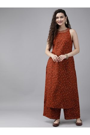 Anouk Women Rust Red & White Printed Kurta with Palazzos