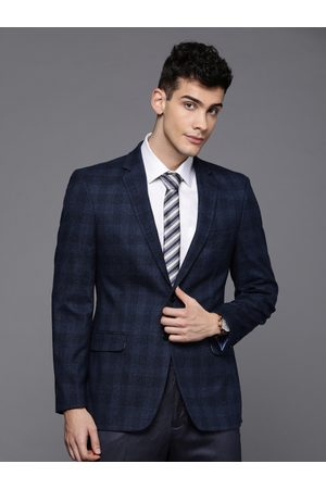 Raymond Weil Men Blue Contemporary Fit Checked Single-Breasted Formal Blazer