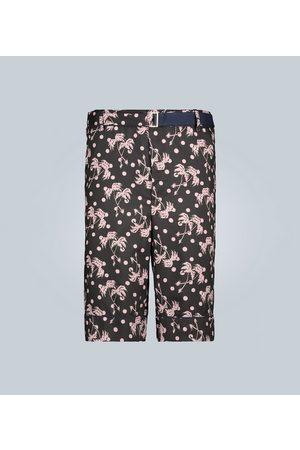 SACAI Palm printed bermuda shorts