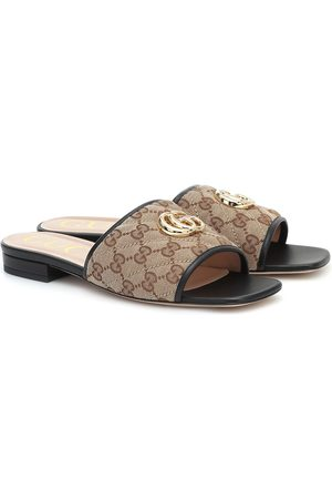 Gucci GG leather-trimmed canvas slides