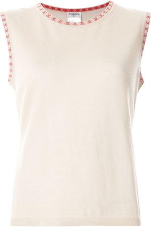 CHANEL Women Vests - 2001 cashmere logo trim vest