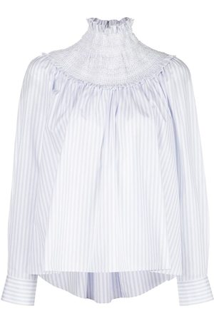 ADAM LIPPES Smocked neck striped blouse