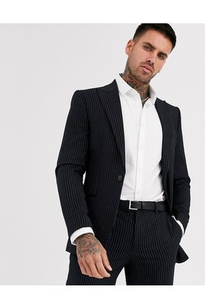 River Island Suit jacket in dark pinstripe