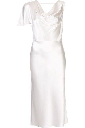 FLEUR DU MAL Asymmetric silk midi dress