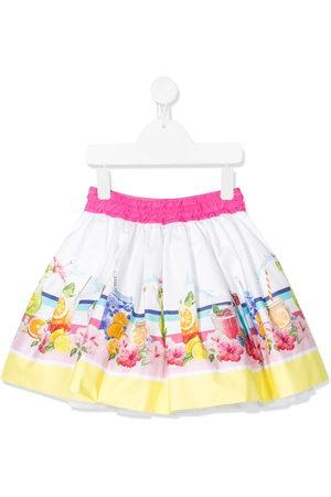 MONNALISA Girls Printed Skirts - Graphic print flared mini skirt