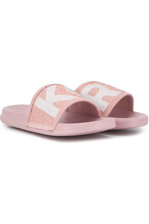 Michael Kors Girls Sandals - Embellished logo sliders