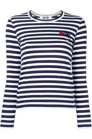 Comme des Garçons Double-heart logo striped T-shirt