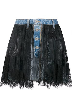 Unravel Project Lace-layer denim skirt