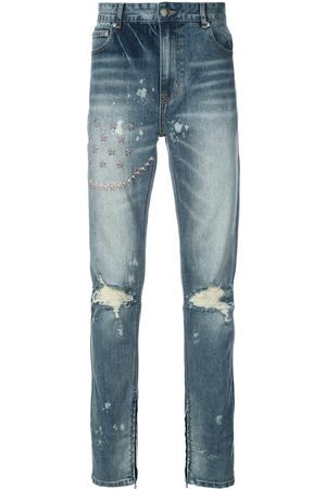 God's Masterful Children Ripped embroidered slim-fit jeans