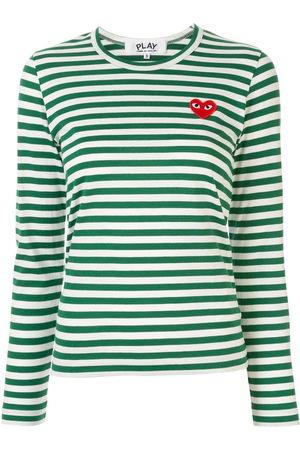 Comme des Garçons Women Short Sleeve - Striped logo-patch T-shirt