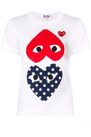 Comme des Garçons Women Short Sleeve - Heart-print crew neck T-shirt