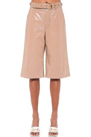 DODO BAR OR Women Bermudas - Deniz Croc Printed Leather Bermuda Short