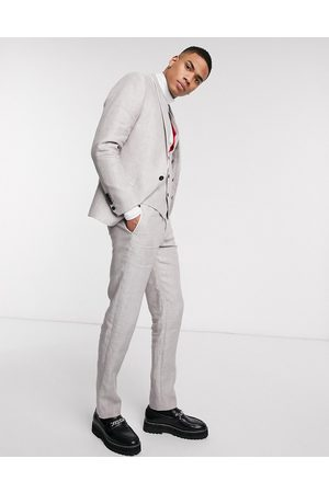 Twisted Tailor Men Slim Trousers - Slim linen suit trousers in