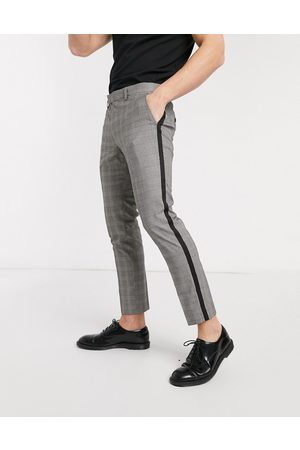 Moss Bros Men Trousers - Moss London cropped checked trousers with side stripe