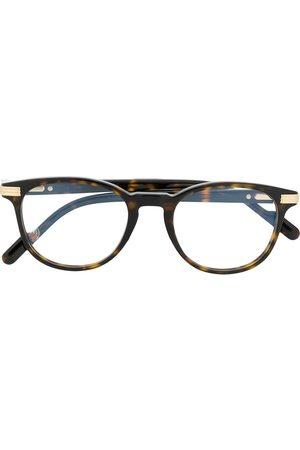 CARTIER EYEWEAR Havana round tortoiseshell-acetate glasses