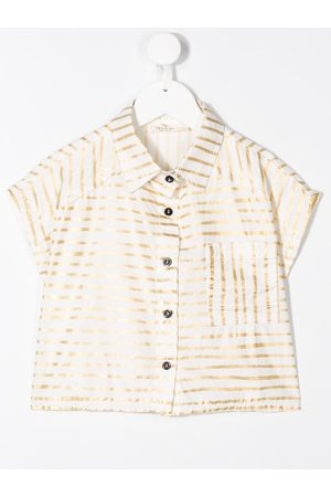 Le pandorine Girls Short Sleeve - Striped linen cropped shirt