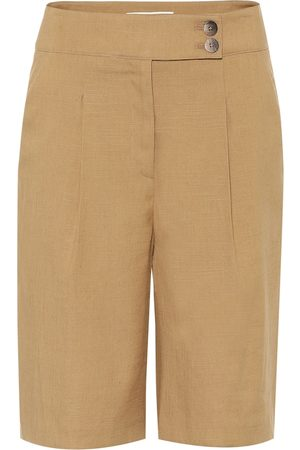 VERONICA BEARD High-rise linen-blend Bermuda shorts
