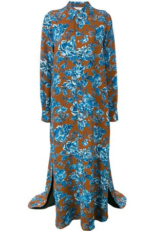 Ami Long Dress Flower Shirt with Long Sleeves