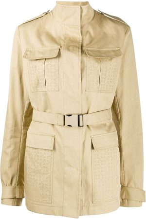 OFF-WHITE Women Trench Coats - Perforated short trench coat