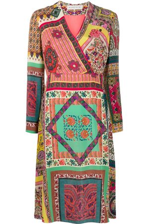 Etro Silk patchwork print midi dress