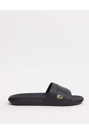 Lacoste Croco sliders with gold croc