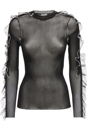 NOIR KEI NINOMIYA Ribbed Sheer Nylon Top W/ Ruffles