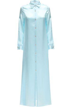 AYA MUSE Sicily Maxi Silk Button Down Shirt Dress