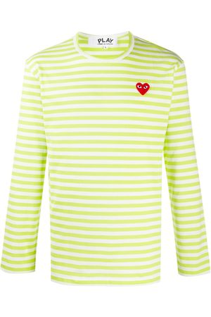 Comme des Garçons Striped heart-logo T-shirt