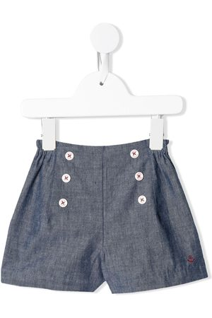 Familiar Button-embellished cotton shorts