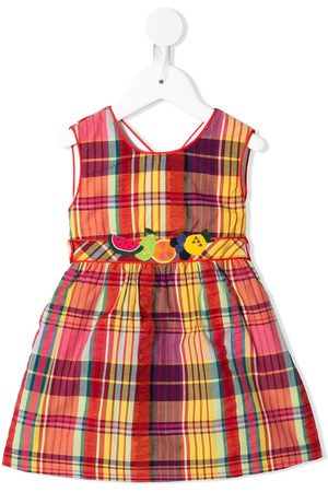 Familiar Baby Printed Dresses - Check-print embroidered dress