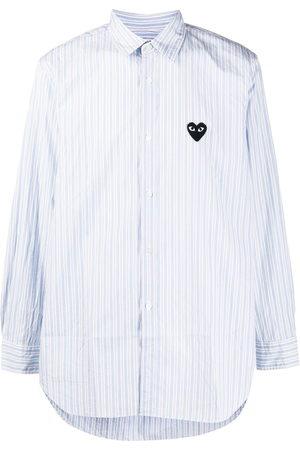 Comme des Garçons Striped heart-logo shirt