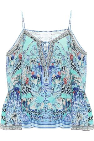 Camilla Embellished printed silk camisole