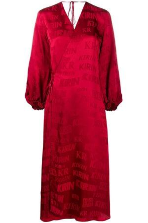 Kirin Logo-print satin wrap dress