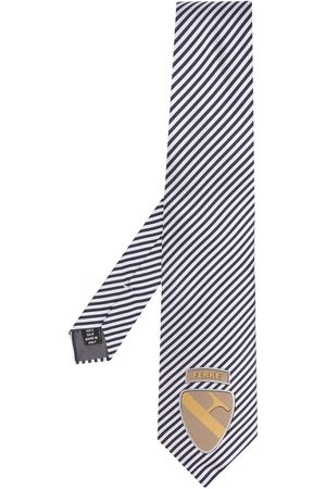 Gianfranco Ferré 1990s diagonal striped logo tie