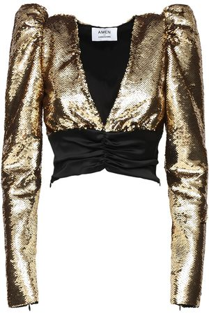 AMEN Tops - Puff Sleeves Sequined Satin Top