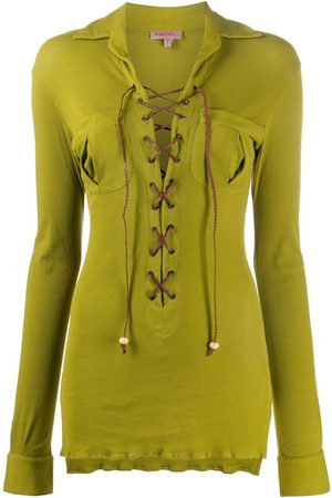 ROMEO GIGLI 1990s lace-up long-sleeved blouse