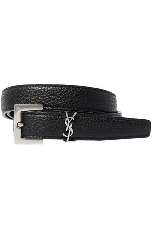 Saint Laurent 20mm Monogram Grained Leather Belt