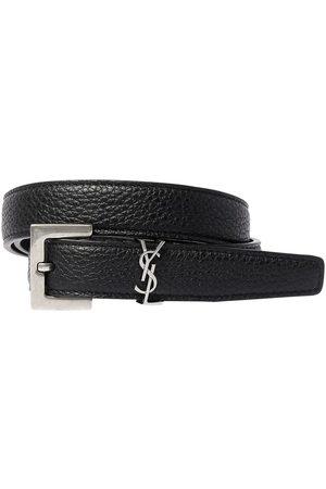 SAINT LAURENT Men Belts - 2cm Monogram Grained Leather Belt